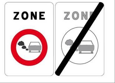 Autowelt - rotes rundes Verbotsschild, das ein Auto mit starker Abgasentwicklung beieinhaltet sowie ein zweites Schild, das durchgestrichen ist