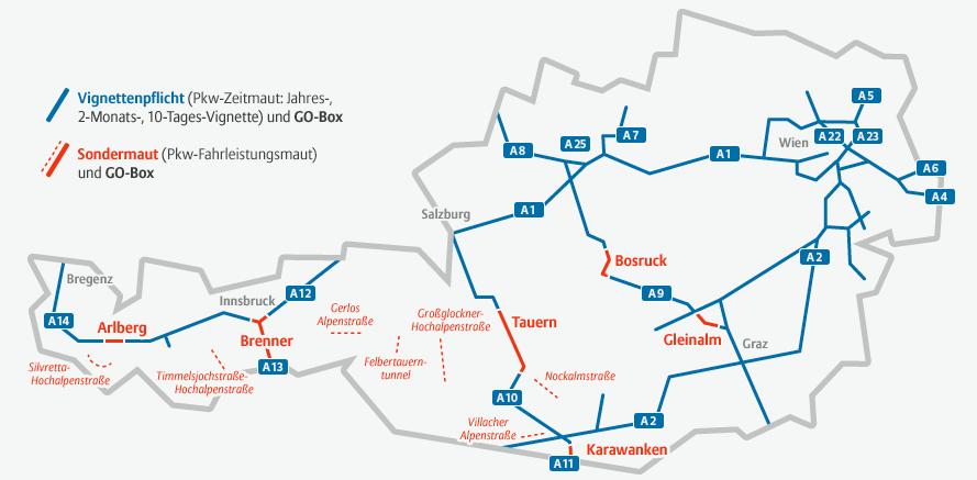 Geschwindigkeitsbegrenzung Autobahn Deutschland Karte.Vignette österreich Preise Gültigkeit Und Mehr Autowelt
